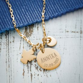 Runder Kettenanhnger Gold mit Charms - Name