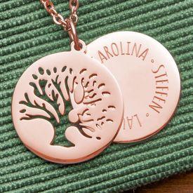 Kette mit graviertem Baum Anhnger Rosegold - Namen