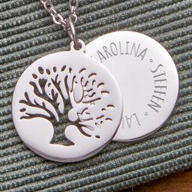 Kette mit graviertem Baum Anhnger Silber - Namen