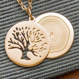 Kettenanhnger Gold - Baum und Jahresringe mit Initialen