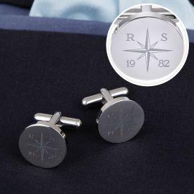 Manschettenknpfe Silber - rund - Kompass mit Gravur