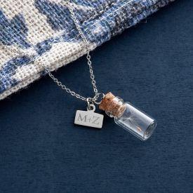 Kettenanhnger Flaschenpost - Initialen Gravur