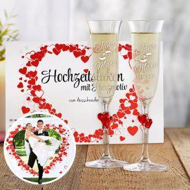 Hochzeitslaken Herzmotiv  Herzen Sektglser mit Gravur