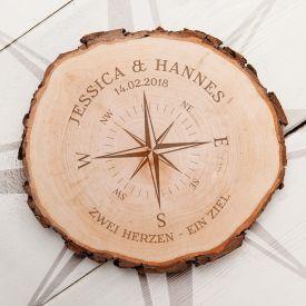 Baumscheibe mit Gravur - Liebeskompass