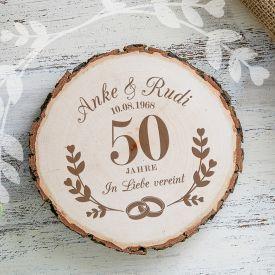 Echte Baumscheibe Mit Gravur Zur Goldenen Hochzeit