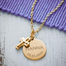 Runder Kettenanhnger mit Kreuz Gold - Name und Datum
