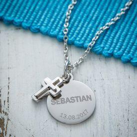 Runder Kettenanhnger mit Kreuz Silber - Name und Datum