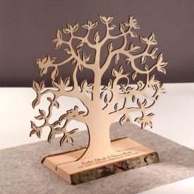 Baum mit Sockel graviert - Geburt klein