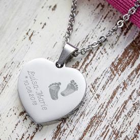 Herzanhnger Silber graviert mit Kette - Babyfe
