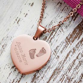 Herzanhnger Rosegold graviert mit Kette - Babyfe