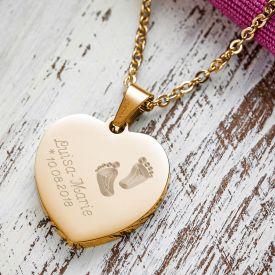 Herzanhnger Gold graviert mit Kette - Babyfe