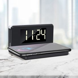 2in1 Digitaluhr mit Wecker und Ladestation fr Smartphones