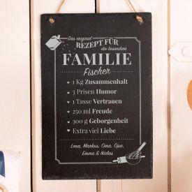 Groe Schiefertafel mit Gravur - Rezept Familie