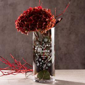 Runde Vase mit Gravur - Blumenherz fr Mama