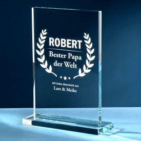 Personalisierter Glaspokal - Auszeichnung fr Besten Papa