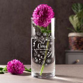 Runde Vase mit Gravur - Blumenherz fr Oma