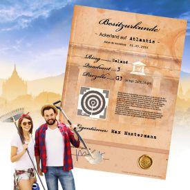 Atlantis Ackerland - personalisierte Urkunde