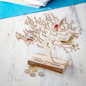 Baum mit Sockel graviert - fr Paare klein