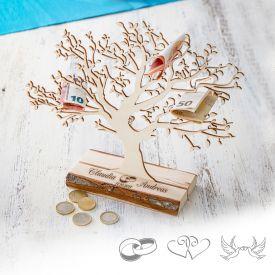 Baum mit Sockel graviert - zur Hochzeit klein