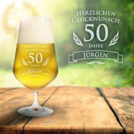 Bierglas zum 50. Geburtstag