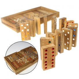 Dominos dans bote en bois lgante