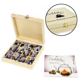 Erblhtee in edler Holzbox mit Gravur - Schwarztee