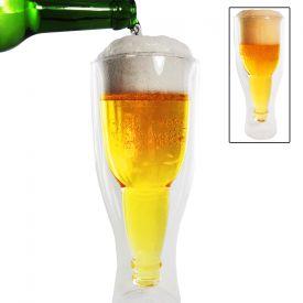 Bouteille dans un verre  2 verres  bire