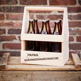 Flaschentrger mit Gravur - Papas Mnnerhandtasche