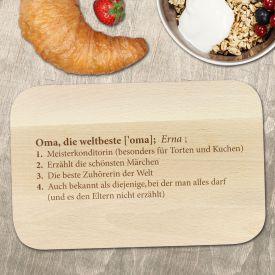 Frhstcksbrett mit Gravur - Definition Weltbeste Oma