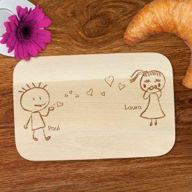 Frhstcksbrettchen mit Gravur - Liebespaar