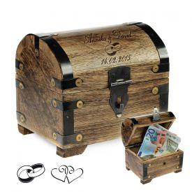 Coffre au trsor en bois  fonc - cadeau mariage