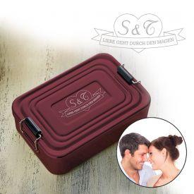 Gravierte Lunchbox Love - quadratisch rot