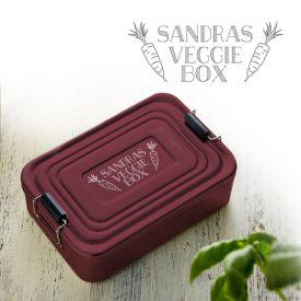 Gravierte Lunchbox - Veggie rot