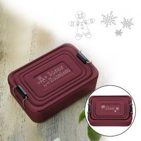 Gravierte Lunchbox zu Weihnachten - quadratisch rot