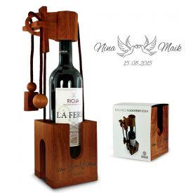 Casse-tte bouteille en bois grav pour le mariage - Tourtereaux