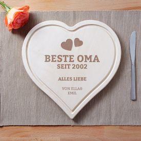 Graviertes Holzherz - Beste Oma von Herzen