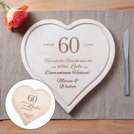 Graviertes Holzherz zur diamantenen Hochzeit