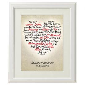 Herz aus Worten - personalisiertes Bild Wei