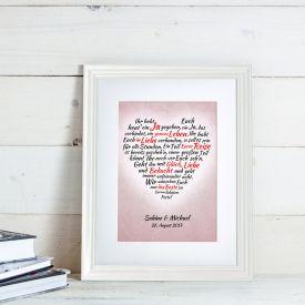 Herz aus Worten - personalisiertes Bild zur Hochzeit Wei