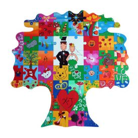 Puzzle en bois arbre  peindre