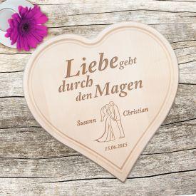Holzherz zur Hochzeit - Paarsilhouette mit Liebesspruch