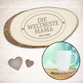 Holzuntersetzer mit Gravur - Die Weltbeste Mama