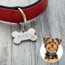 Hundehalsband Anhnger mit Gravur - Knochen