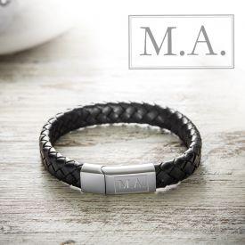 Bracelet en cuir tress  initiales graves