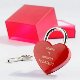 Liebesschloss mit Gravur - Rotes Herz