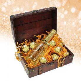 Minitruhe Goldschtzchen - Sekt und Schokolade
