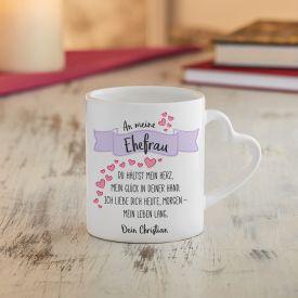 Personalisierte Herz Henkeltasse - Liebesgedicht Ehefrau