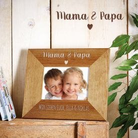 Personalisierter Bilderrahmen - Mama  Papa mit Herz