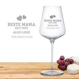 Personalisiertes Weinglas - Beste Mama von Herzen