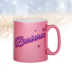 Pinke Glitzertasse - Name